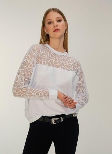 NGSTYLE Dantelli Sweatshirt Beyaz